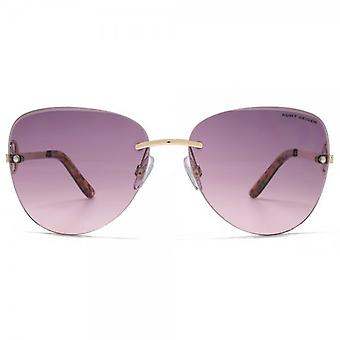 Kurt Geiger Bevel Edge Rimless Sunglasses In Matte Gold Tortoise