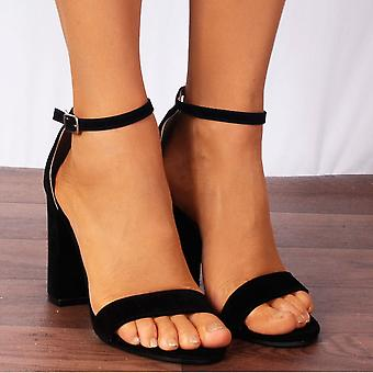 Shoe Closet Ladies Db57 Black Faux Suede Peep Toes Ankle Strap High Heels Strappy Sandals