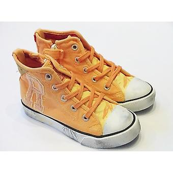 Replay Geary Yellow Canvas High Top Trainers With Inside Zip