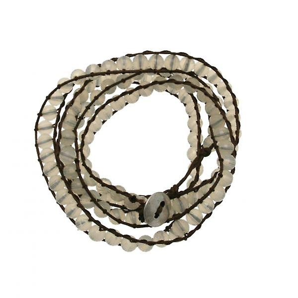 W.A.T Brown Cord And White Pastel Bead Wrap Bracelet