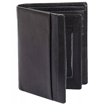 Dents Smooth Punched Leather Tall Wallet - Black