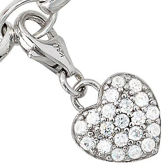Single earrings charm heart 925 sterling silver rhodium plated with cubic zirconia