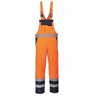Portwest - Hi-Vis Contrast Safety Workwear Bib & Brace Dungarees - Lined