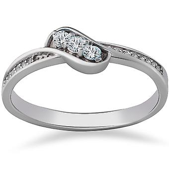 1/6ct 3-Stone Diamond Promise Engagement Ring 14K White Gold