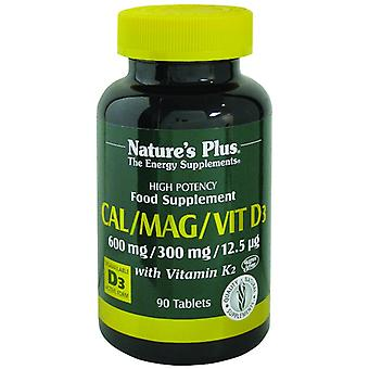 Natures Plus Cal/Mag/Vit D3 mit Vitamin K2, 90 Tabletten