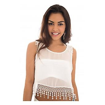 The Fashion Bible Lace Trim Crop Top In White