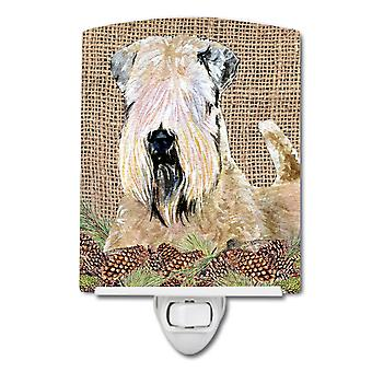 Wheaten Terrier Soft Coated on Faux Burlap with Pine Cones Ceramic Night Light