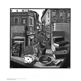 Still Life and Street Poster Print by MC Escher (22 x 26)