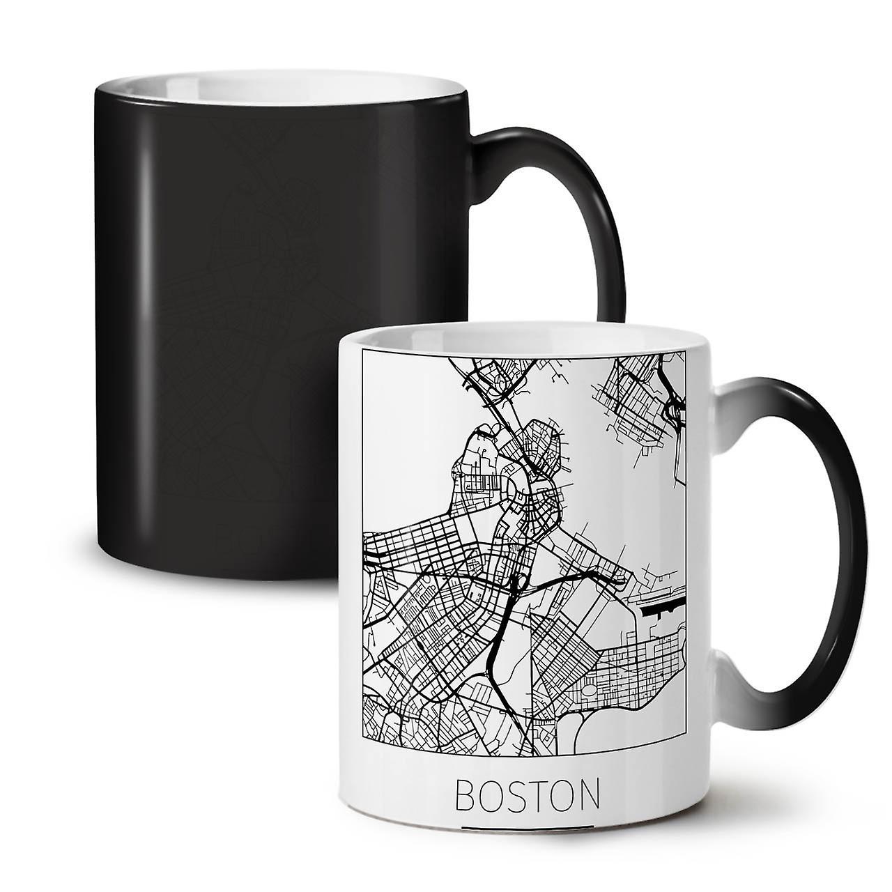 Thé OzWellcoda City De Café 11 Nouvelle Changeant Céramique Noir Tasse Carte Fashion Boston Couleur dstQhr