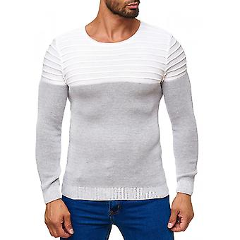 Men's sweater two tone O-neck long sleeve fine knit 3D stitching
