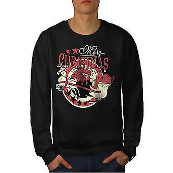 Vintage Santa Men BlackSweatshirt | Wellcoda