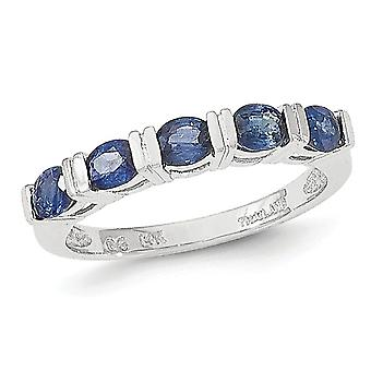 Ladies Blue Sapphire Ring in 14K White Gold