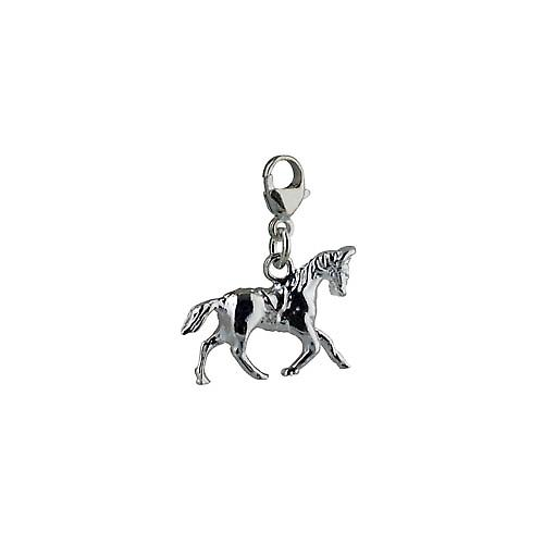 Silver 23x19mm Saddled Cantering Horse Charm on a lobster trigger