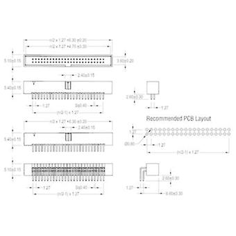 Pin strip Contact spacing: 1.27 mm Total number of pins: 16 W &