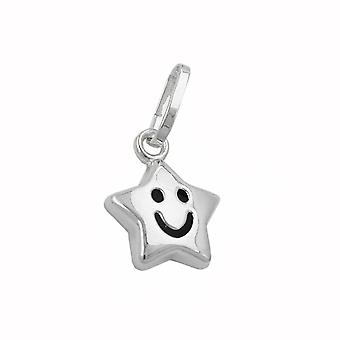 Pendant star with face silver 925
