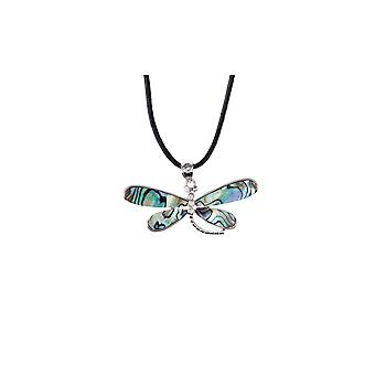 Pendant-woman dragonfly in Abalone and mount copper