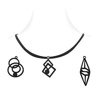 Kabinet Design kvinde - 3 vedhæng sort silikone halskæde