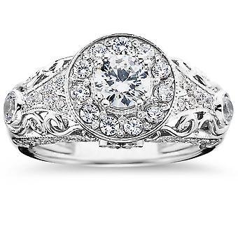 1 1 / 2ct Vintage Diamond Engagement Ring 14K White Gold