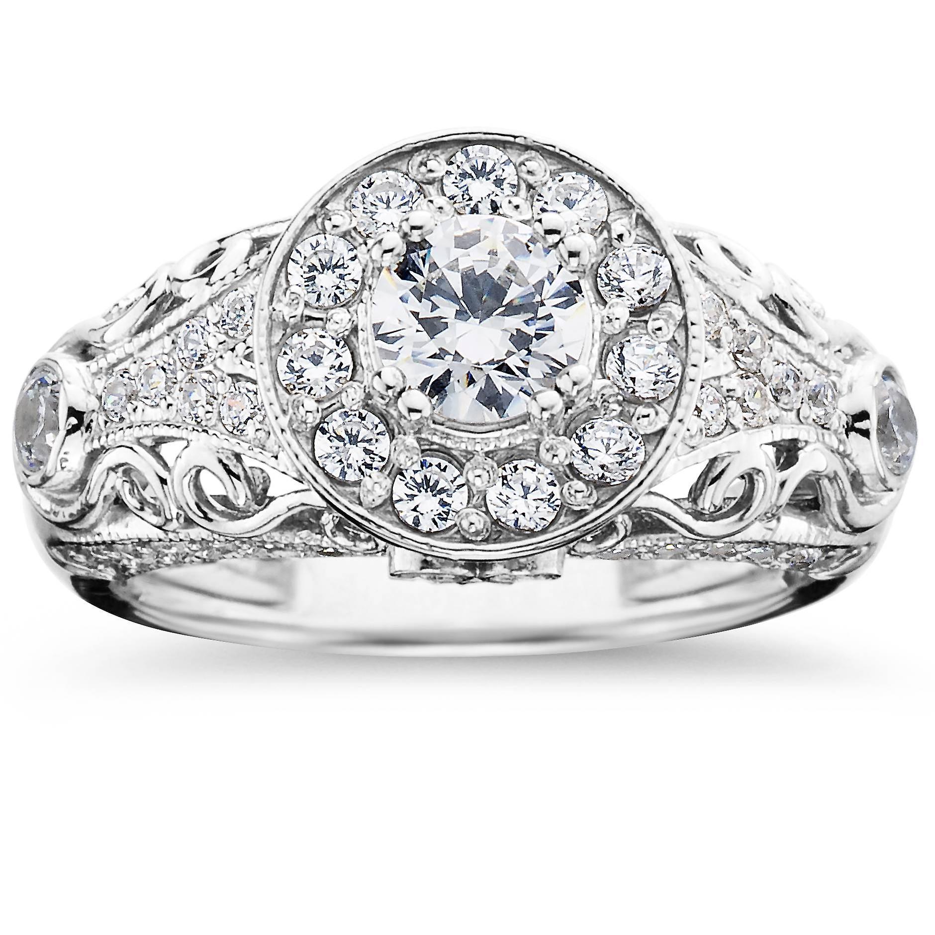 1 1/2ct Vintage Diamond Engagement Ring 14K White Gold