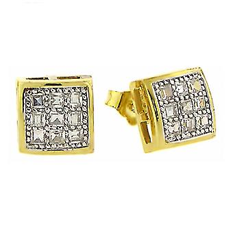 925 MICRO PAVE earrings - BARCELONA 8 mm gold