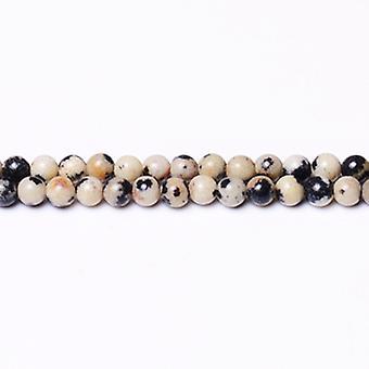 Aktionsdel 120 + creme/sort dalmatiske Jasper 3mm almindelig runde perler CB31332-2