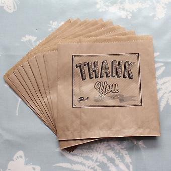 Kraft Brown 'Thank you Very Much' Paper Bag x 10 - Wedding / Craft / Gift unstrung