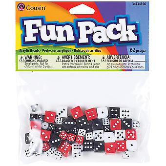 Fun Pack Dice Beads Mix 8Mm 10Mm 62 Pkg Assorted Colors 34734106