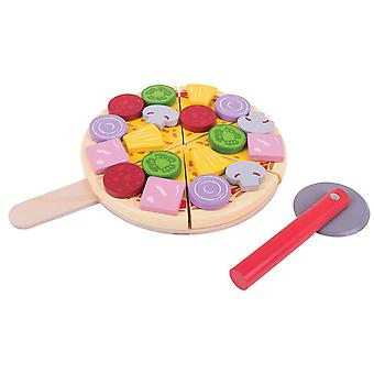 Bigjigs speelgoed houten Play Food Cutting Pizza Pretend Role Play Kitchen