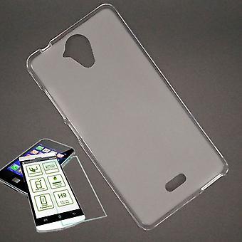 Silikoncase Transparent + 0,3 H9 Hartglas für Wiko U Feel Tasche Hülle Neu