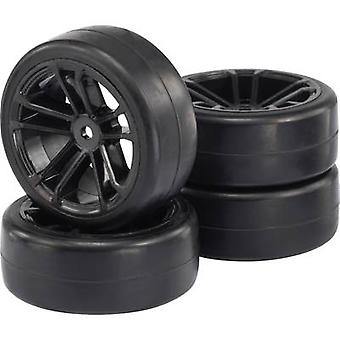Reely 1:10 Road version Wheels Slick 5-double spoke Black 4 pc(s)