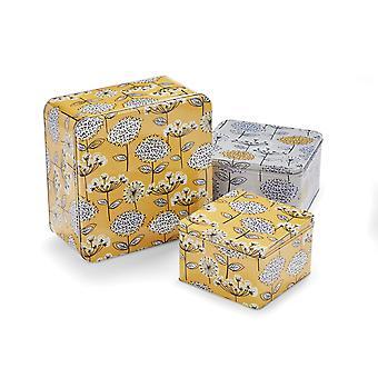 Cooksmart Set of 3 Retro Meadow Square Cake Tins