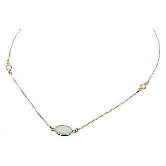Gemshine - damer - halsband - guldpläterat 925 Silver - Kalcedon - Månsten - hav grön - vit - 45 cm