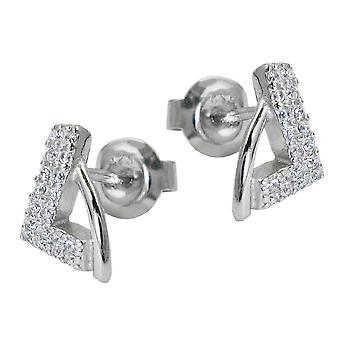 Triangular ear studs earrings silver triangle of zirconias 925 sterling silver