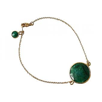Vergulde armband Bangle Bracelet - armbanden - facetten Smaragd - groene--19 cm