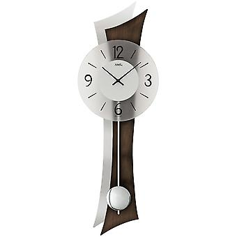 Wall clock clock quartz with pendulum wooden rear wall mineral glass Walnut