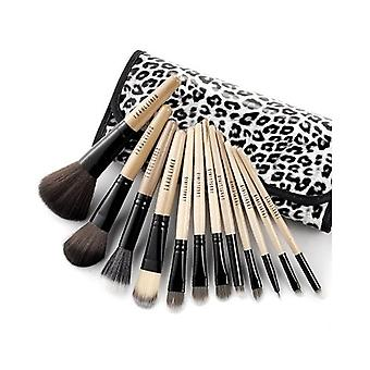 12 Pcs Luxury Wooden Handle Makeup Brushes Set with Leopard Case