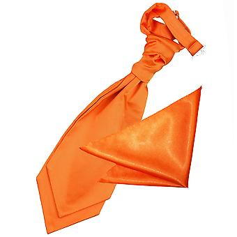 Brent oransje ren Satin bryllupet Cravat & Pocket Square satt for gutter