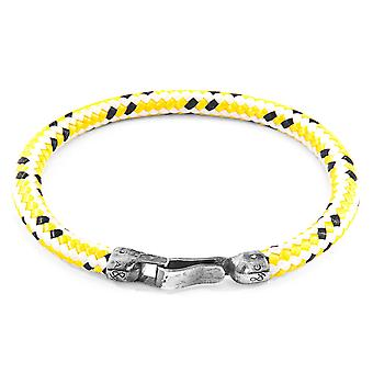 Anchor & Crew Yellow Dash Paignton Silver and Rope Bracelet