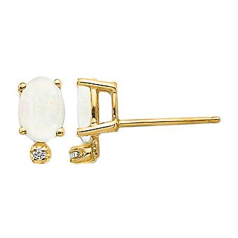 3/5 Carat (ctw) Natural Opal Post Earrings in 14K Yellow Gold