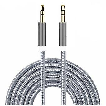 ONX3 (Grey) Gold Plated Nylon Material Braided 3.5mm Jack To Jack Connection Aux Auxiliary Audio Cable [ 3 METER ] For  Vivo V9 6Gb