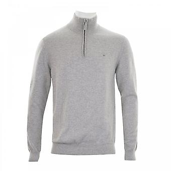 GANT Gant Mens Super Fine Lambswool Zip Knit Sweater (Grey)