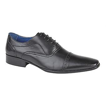 Mens Leather Lace Up 5 Eyelet Punched Capped Oxford Formal Dress Shoes