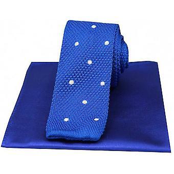 David Van Hagen manchou a gravata de seda de malha fina e conjunto de lenço liso - azul/branco