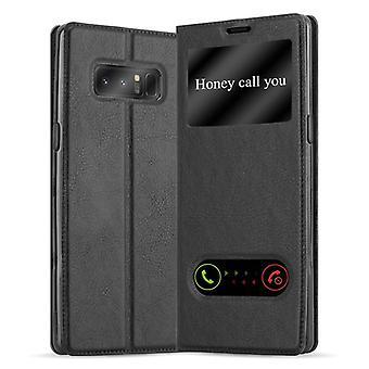 Cadorabo Hülle für Samsung Galaxy NOTE 8 - Handyhülle mit Standfunktion und 2 Sichtfenstern - Case Cover Schutzhülle Etui Tasche Book Klapp Style