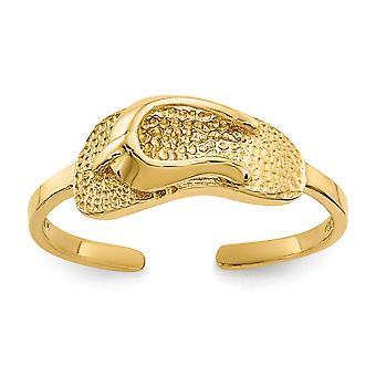 14 k geel gouden satijn gepolijst Sandal teen Ring - 1.2 gram