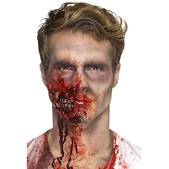 Latex Zombie Jaw Prosthetic, Red, with Adhesive