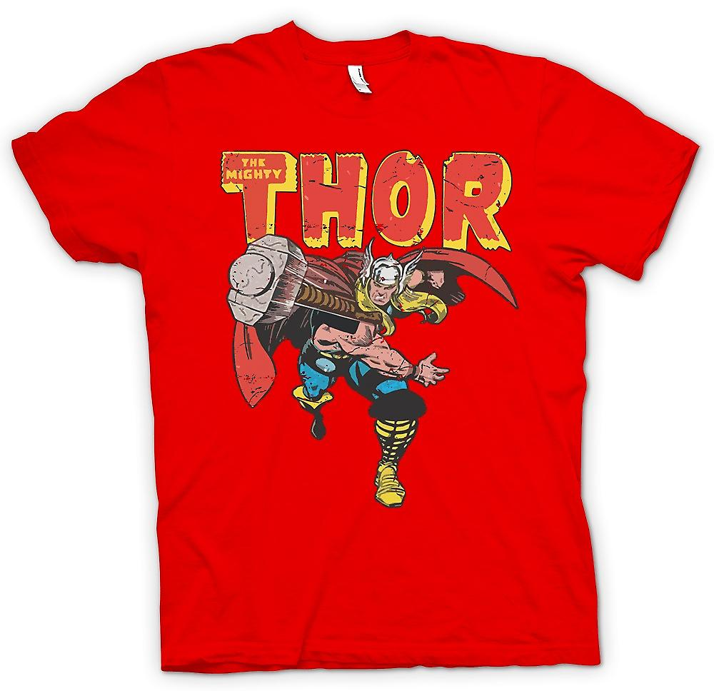 Mens T-shirt - The Mighty Thor Throwing Hammer - Superhero