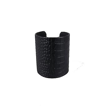 LMS Thick Faux Crocodile Leather Bangle In Black