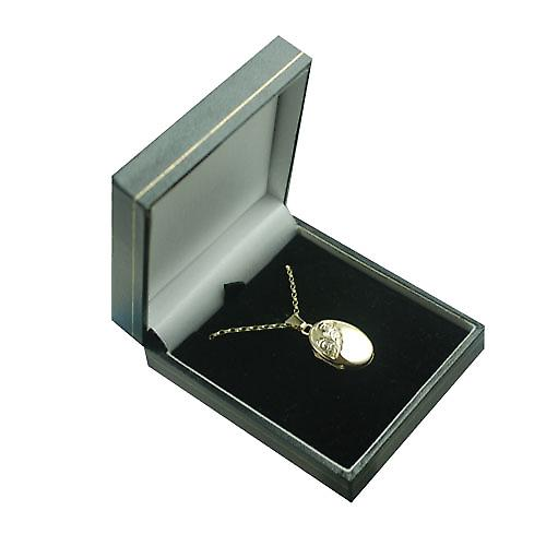 9ct Gold 22x15mm half hand engraved oval Locket with a belcher Chain 16 inches Only Suitable for Children