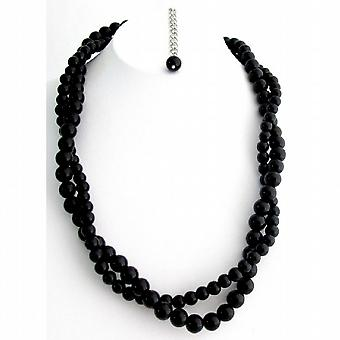 Black Jewelry Black Pearl Necklace Black Twisted Necklace